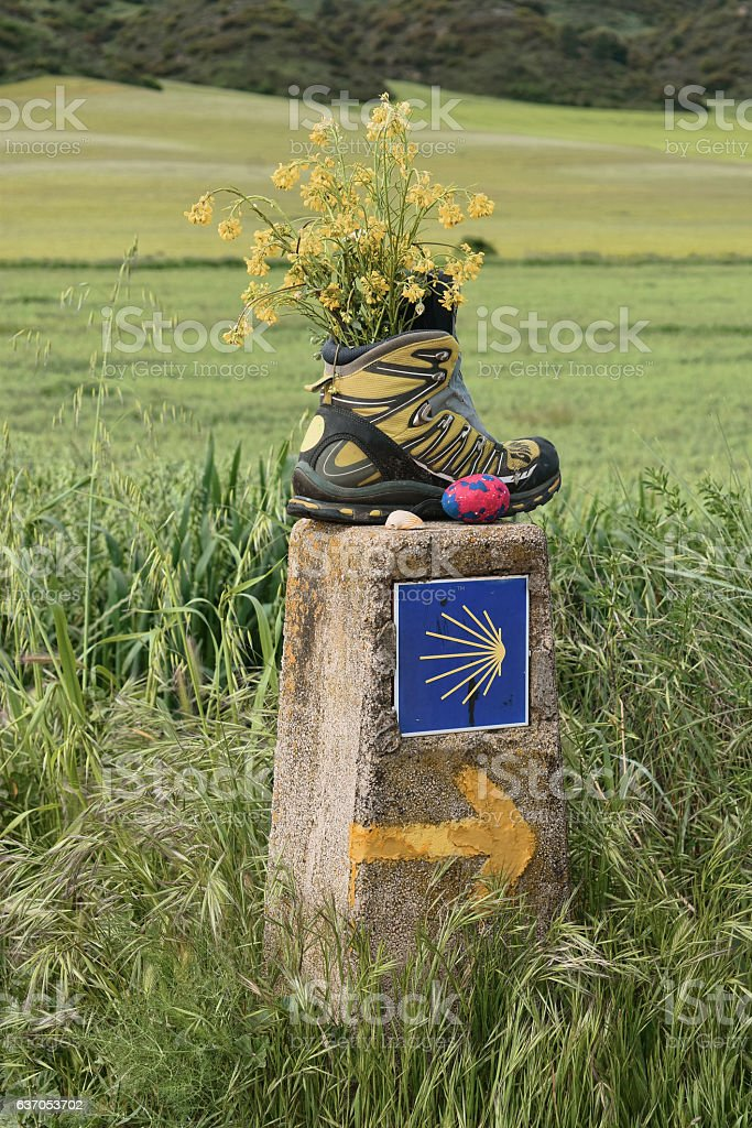 Boot Abandoned on the Camino stock photo