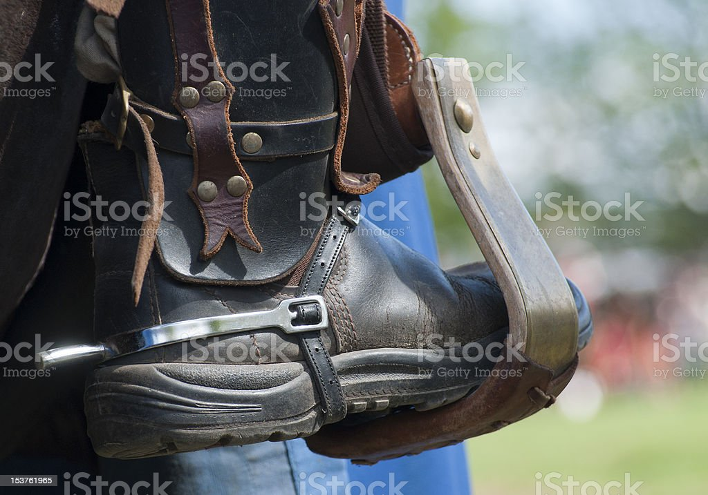 Boot in stirrup stock photo
