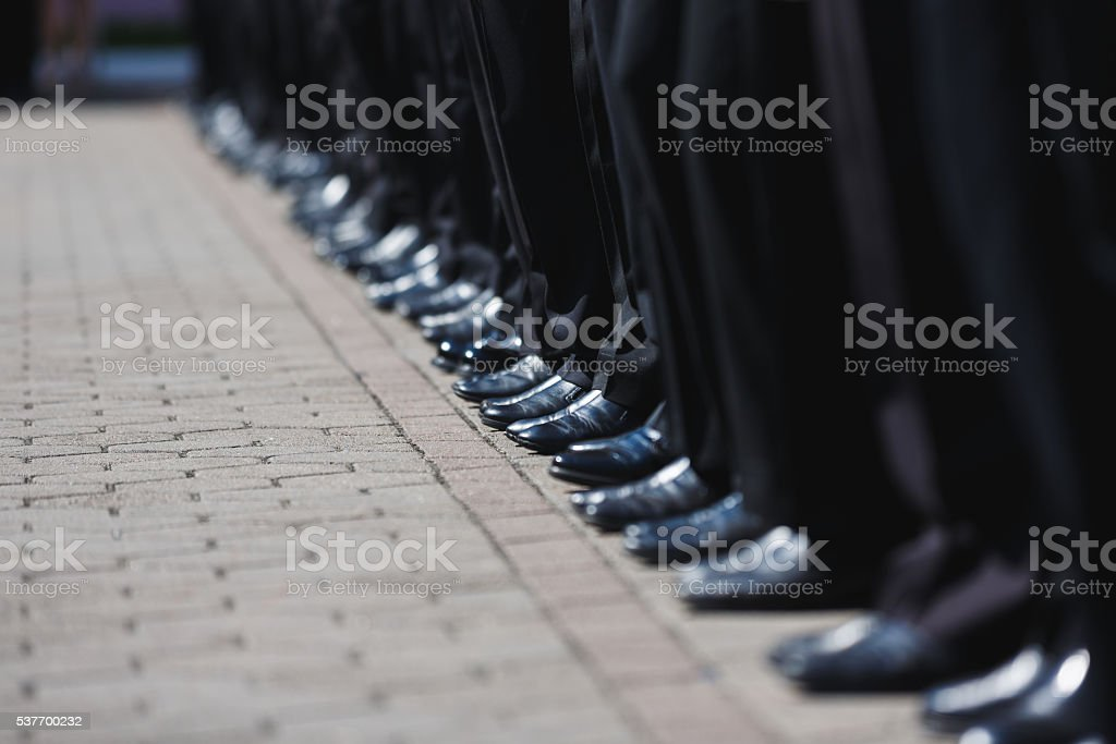 Boot row of cadets stock photo