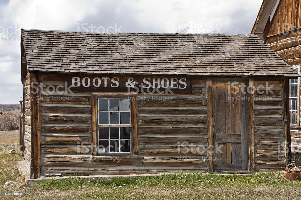 Boot & Shoe Shop in Montana Ghost Town royalty-free stock photo