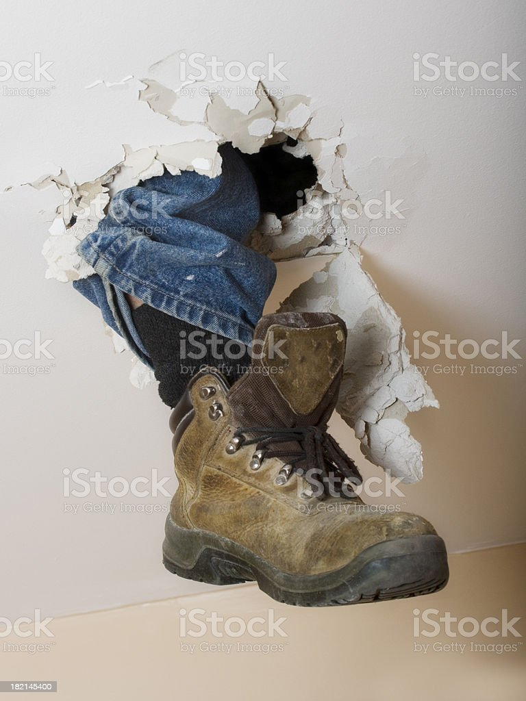 boot through roof royalty-free stock photo