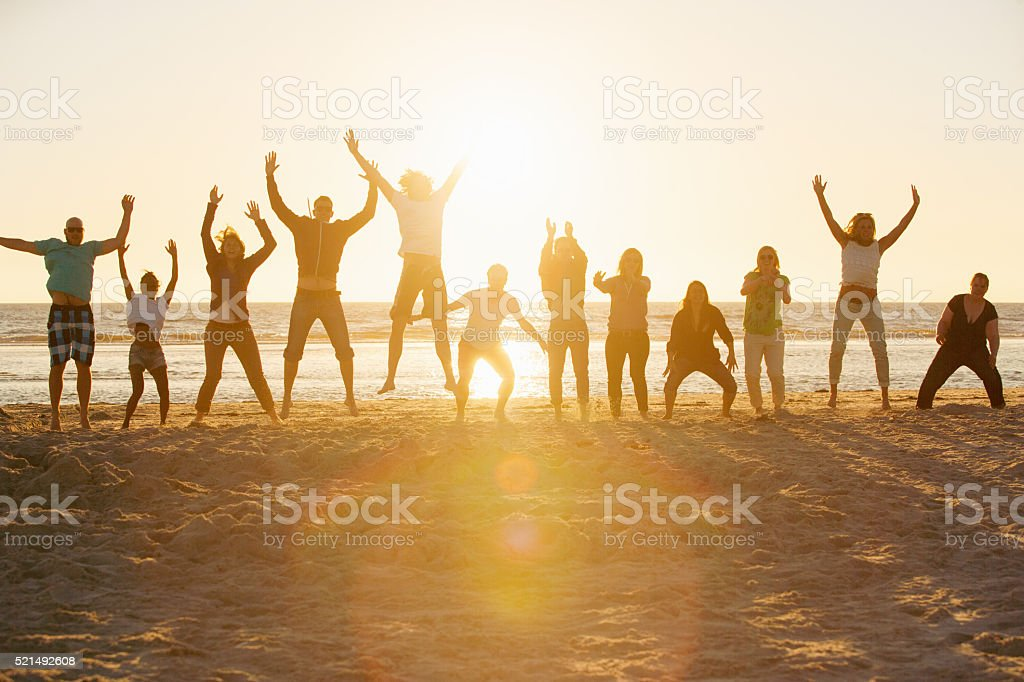 Bootcamp people performing sports at the beach of St.Peter-Ording,Germany stock photo