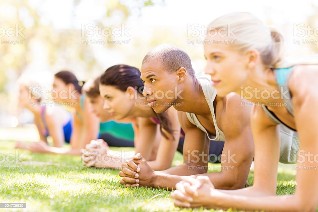 Bootcamp Workout Class In Plank Position stock photo