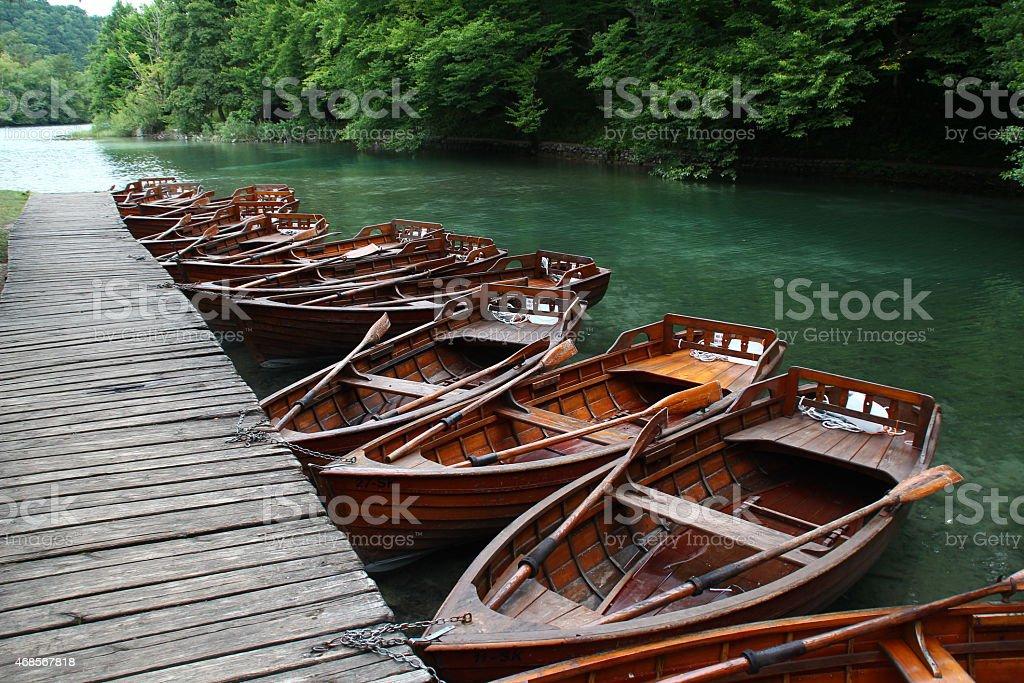 Boote auf dem See stock photo