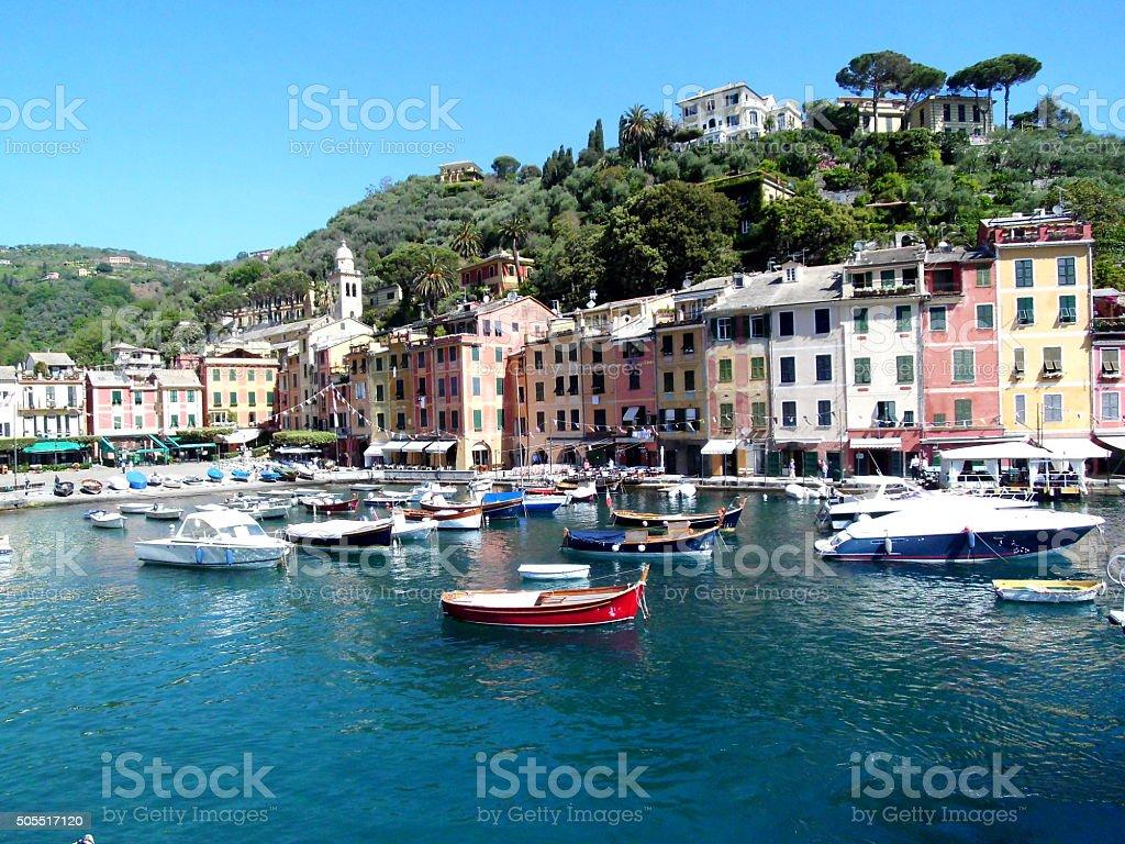 Boote im Hafen von Portofino, Ligurien, Italien stock photo
