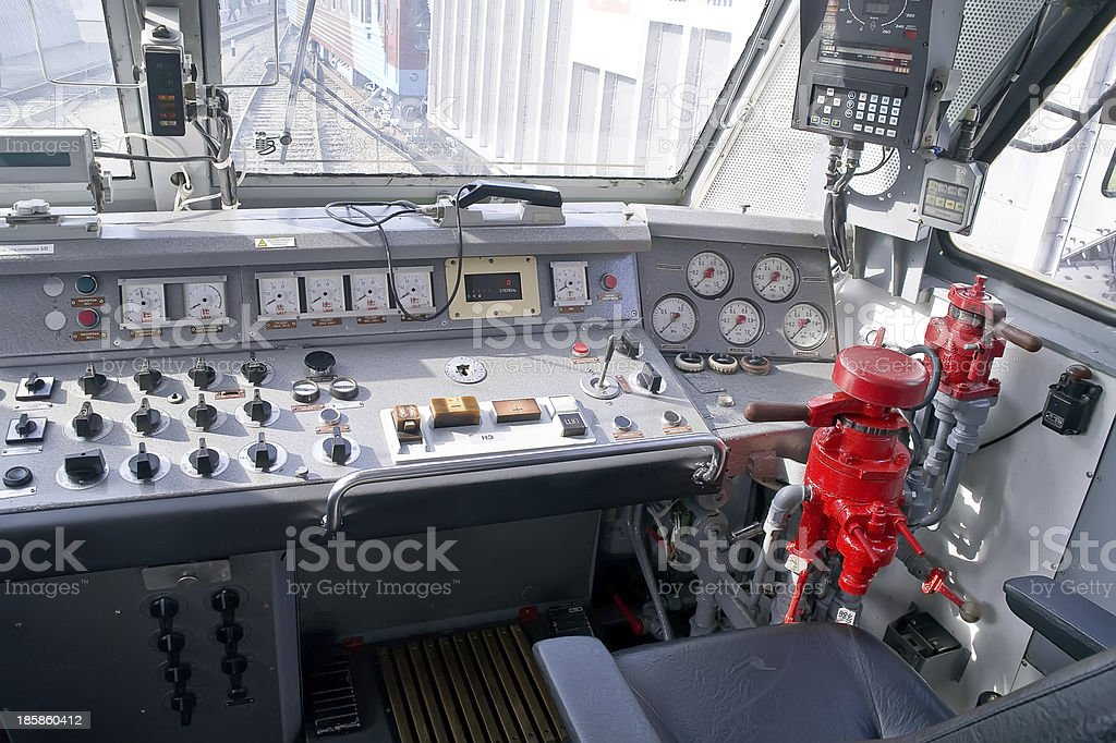 Booth of electric locomotive stock photo