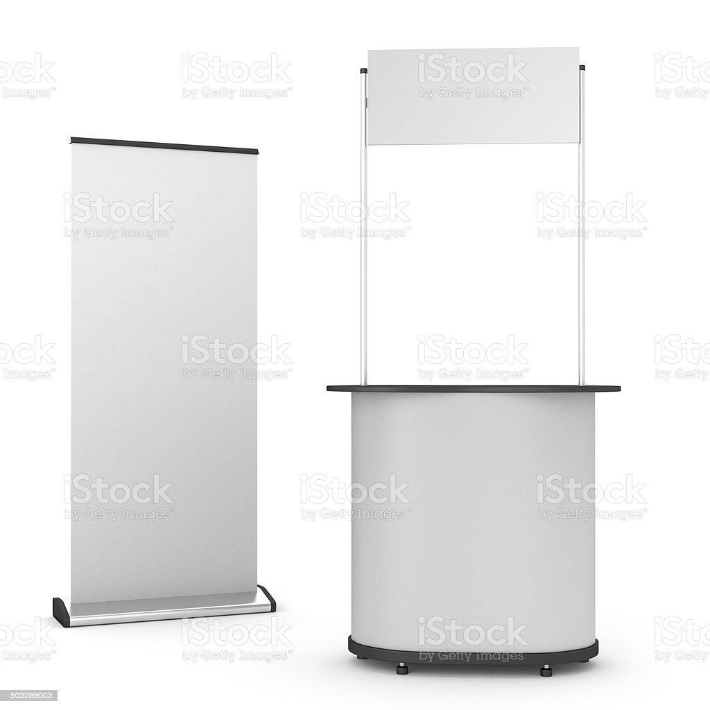 booth or kiosk with roll-up stock photo