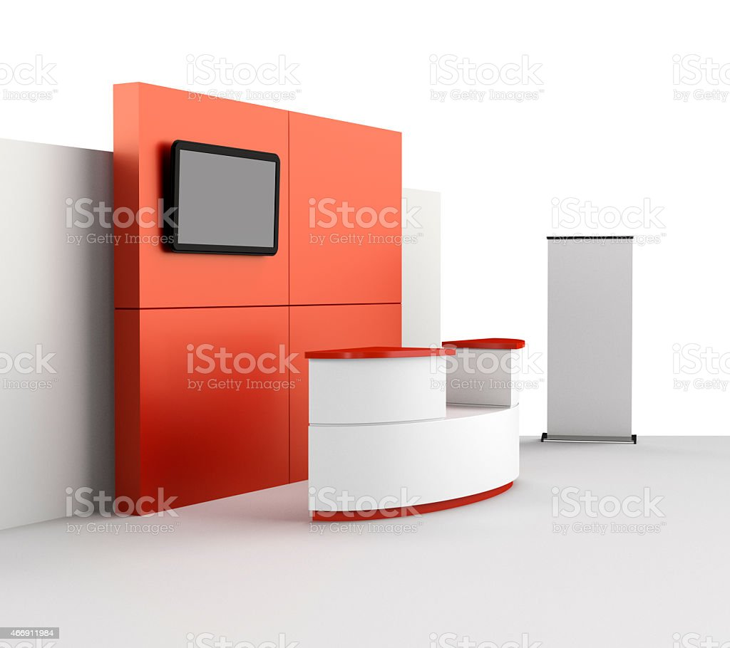 booth or kiosk with tv display stock photo