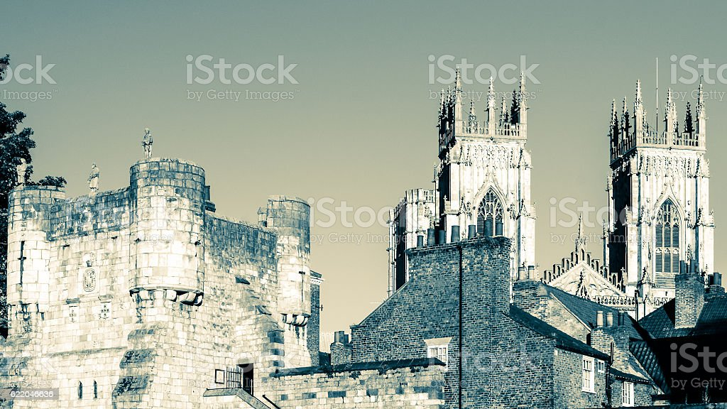 Bootham Gate City Wall entry and Towers of York England stock photo