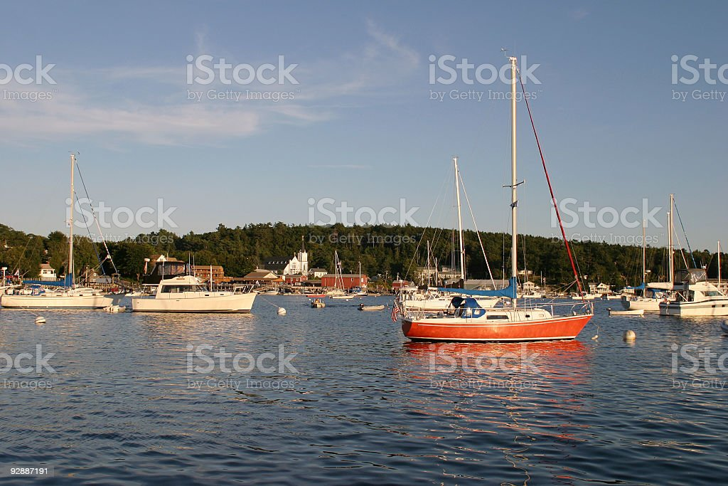 Boothbay Harbor at the sunset in early September. stock photo