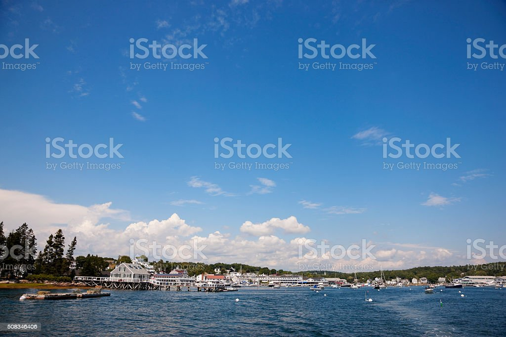 Boothbay Harbor from the water stock photo