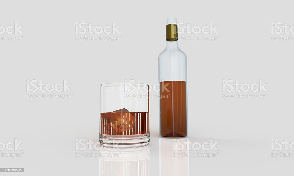 Bootle of whiskey with glass and ice royalty-free stock photo