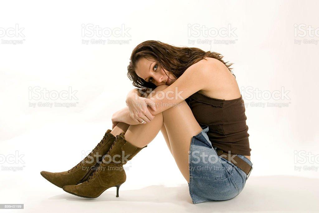 boots and miniskirt stock photo