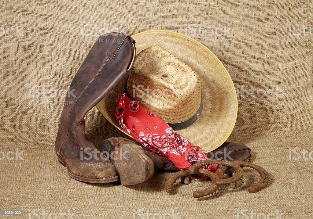 Boots, hat and Horseshoes 3 royalty-free stock photo