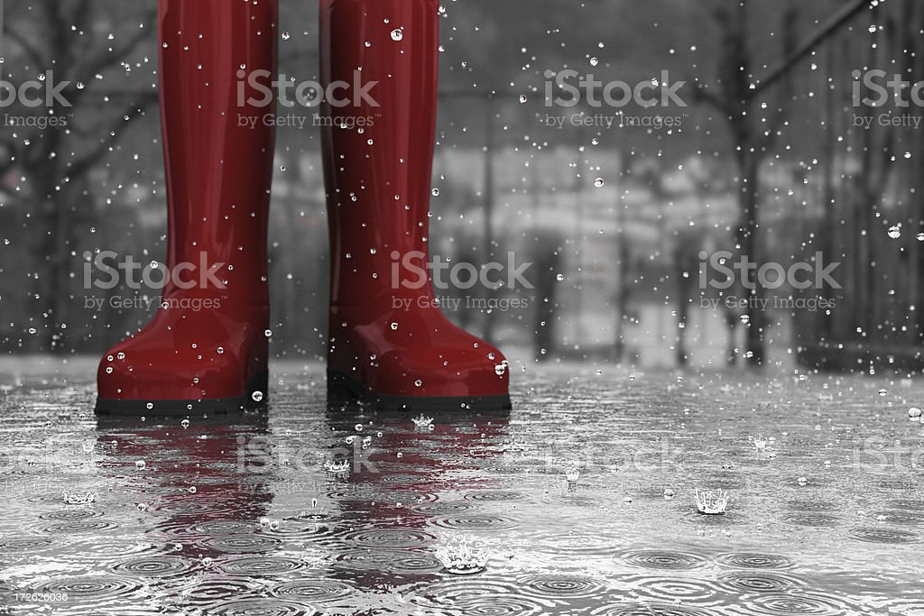 boots in rain royalty-free stock photo