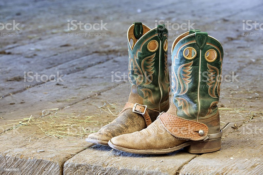 Boots in the Barn stock photo