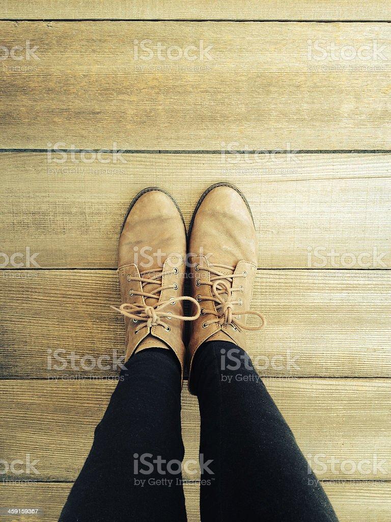 Boots on Barnwood stock photo