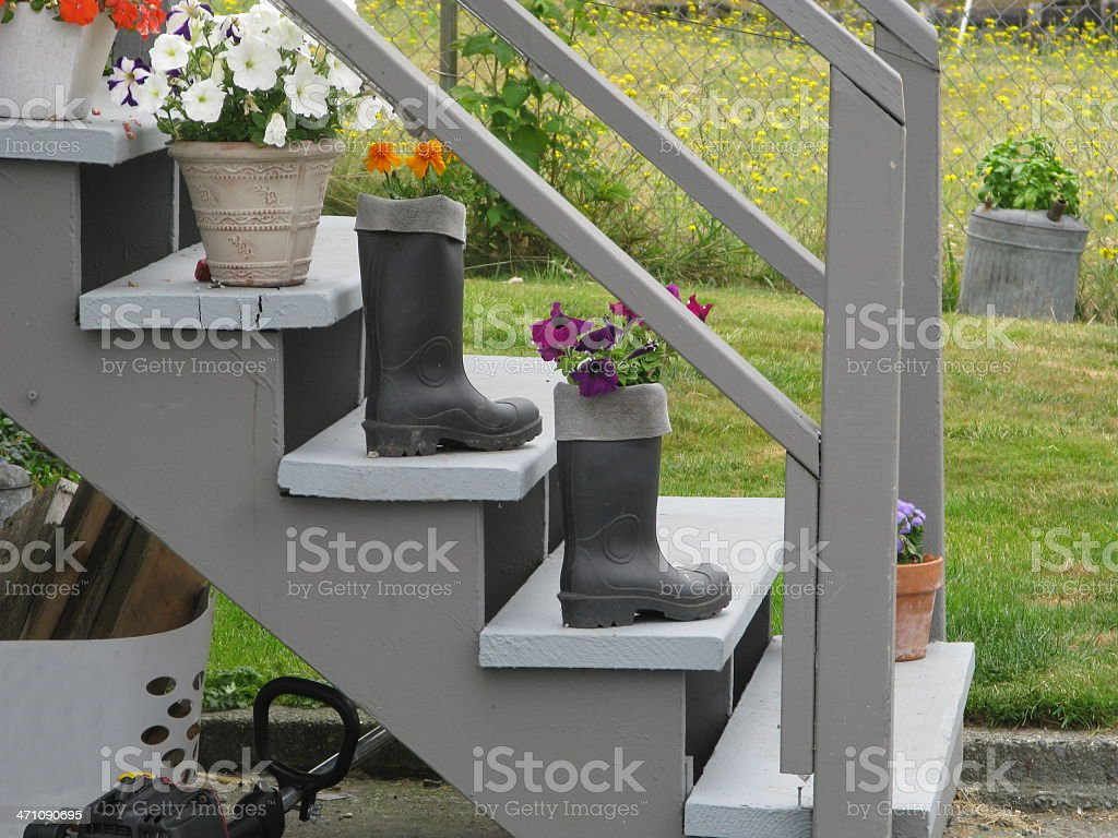 Boots On Porch Steps royalty-free stock photo