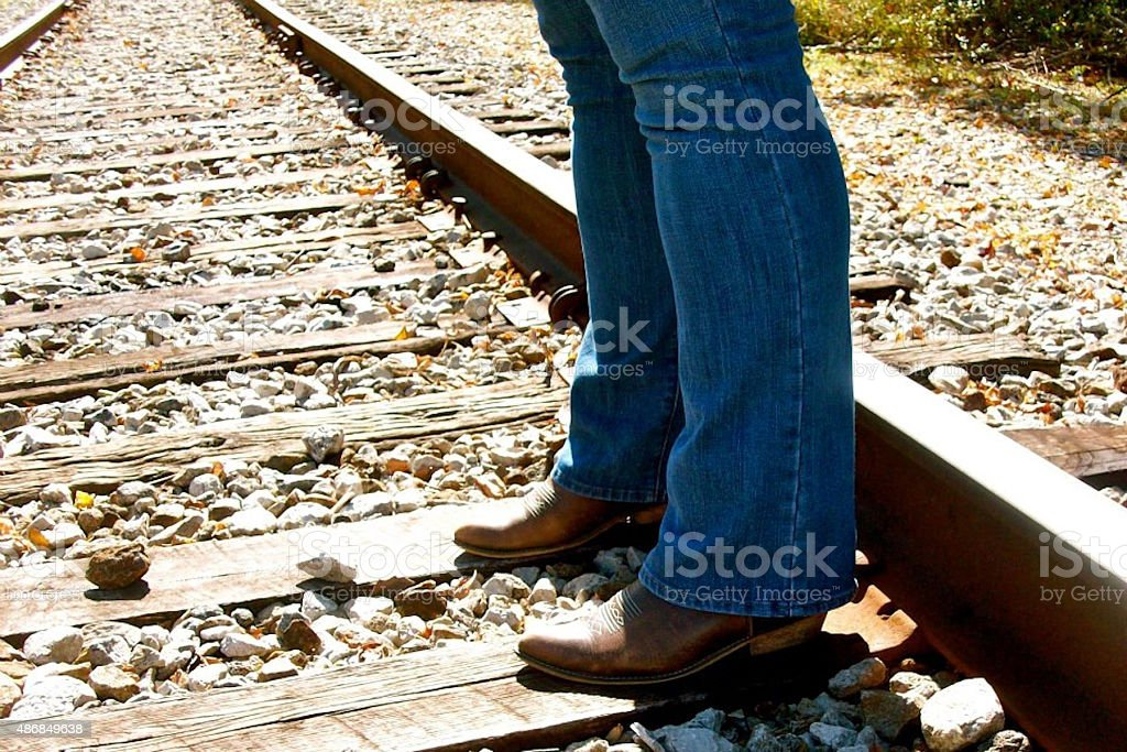 Boots on Traintracks stock photo