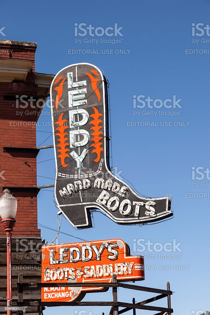 Boots Shop in Fort Worth Stockyards stock photo