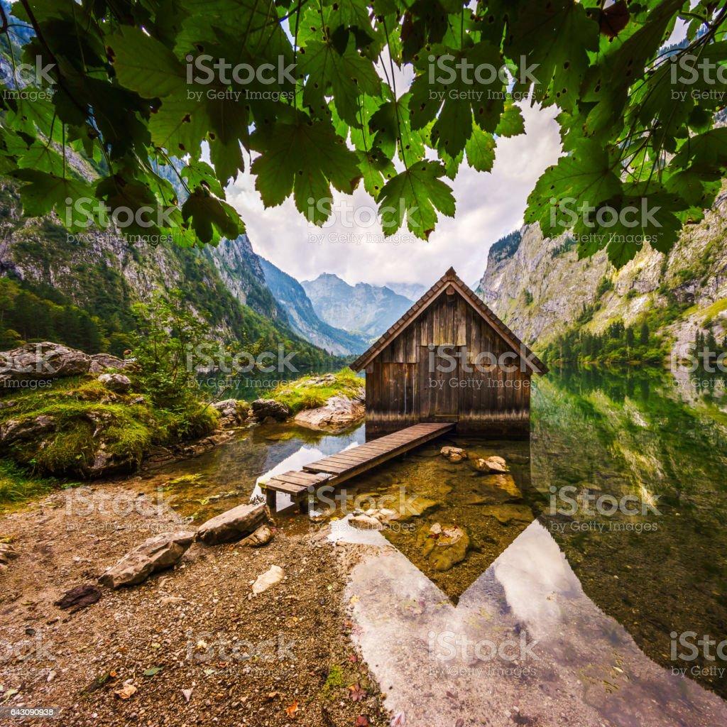 Bootshaus am Obersee beim Königssee im Berchtesgadener Land stock photo