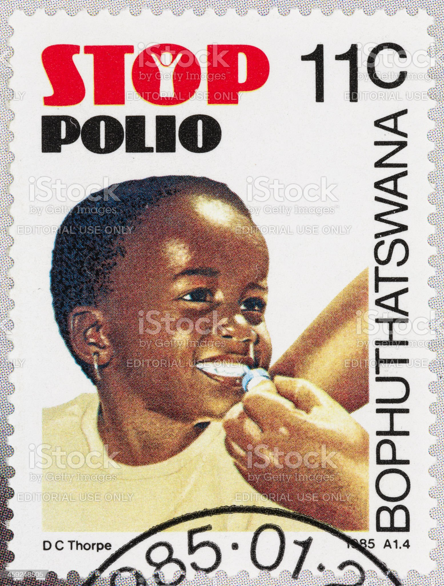 Bophuthatswana stop polio  postage stamp royalty-free stock photo