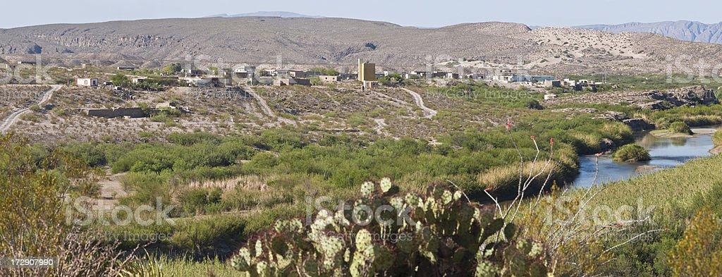 Boquillas, Mexico Panarama from Big Bend National Park stock photo