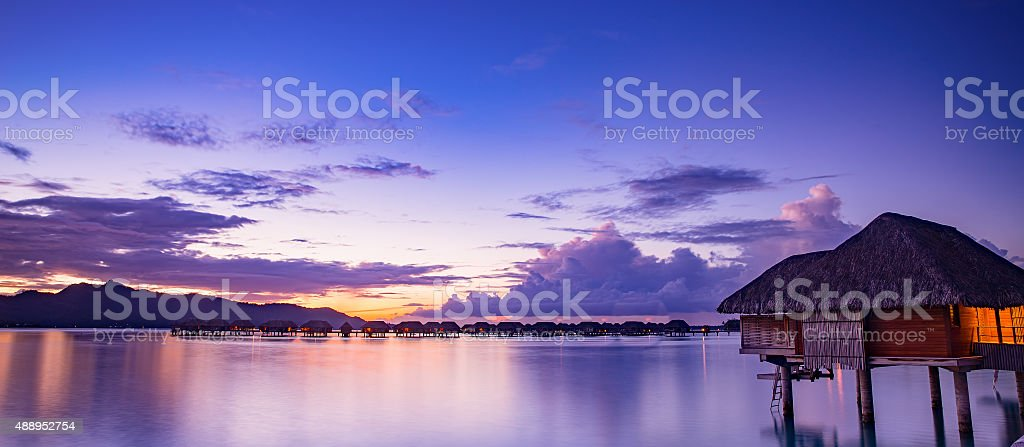 Bora Bora at sunset stock photo