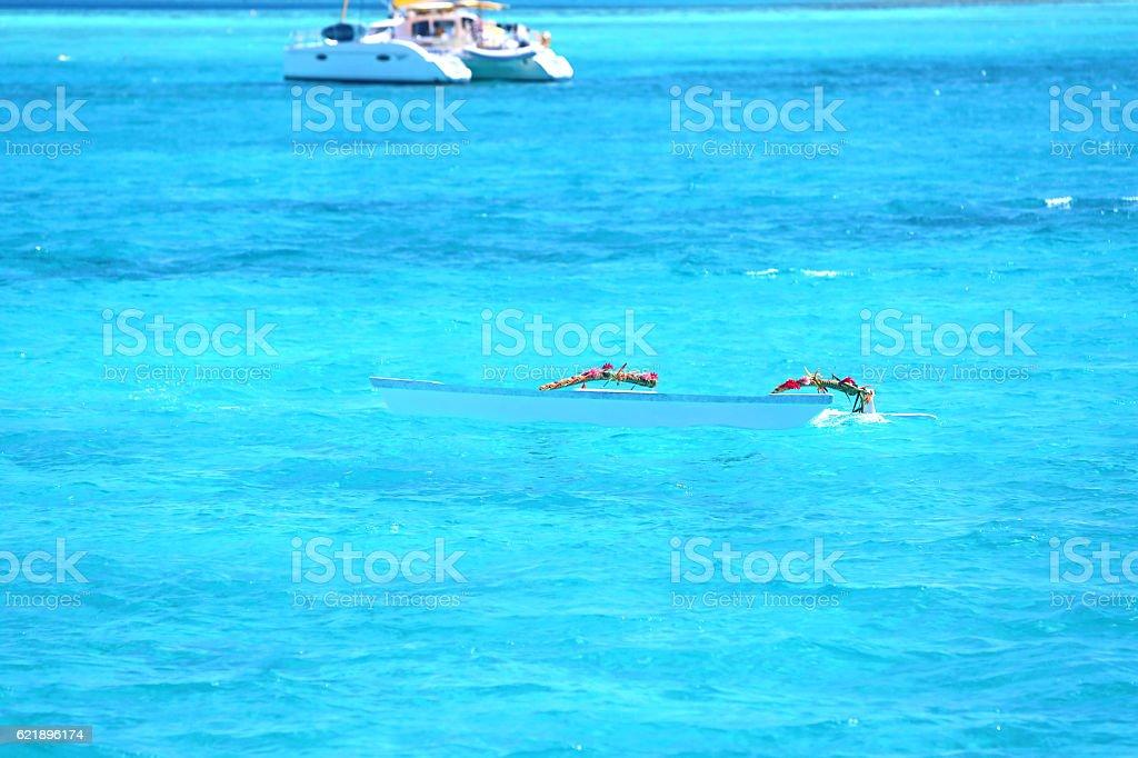 Bora Bora Blue Water Canoe stock photo