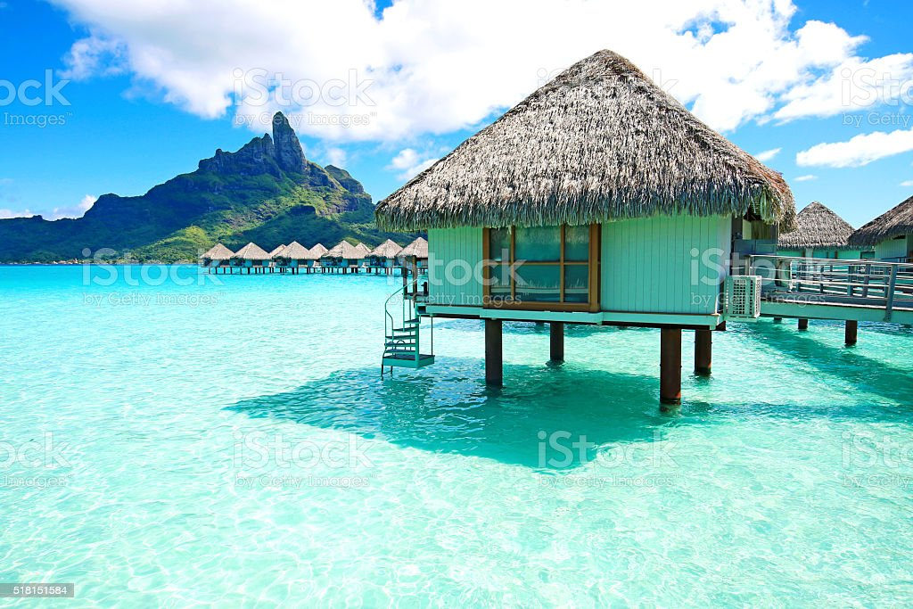 Bora Bora Bungalow stock photo