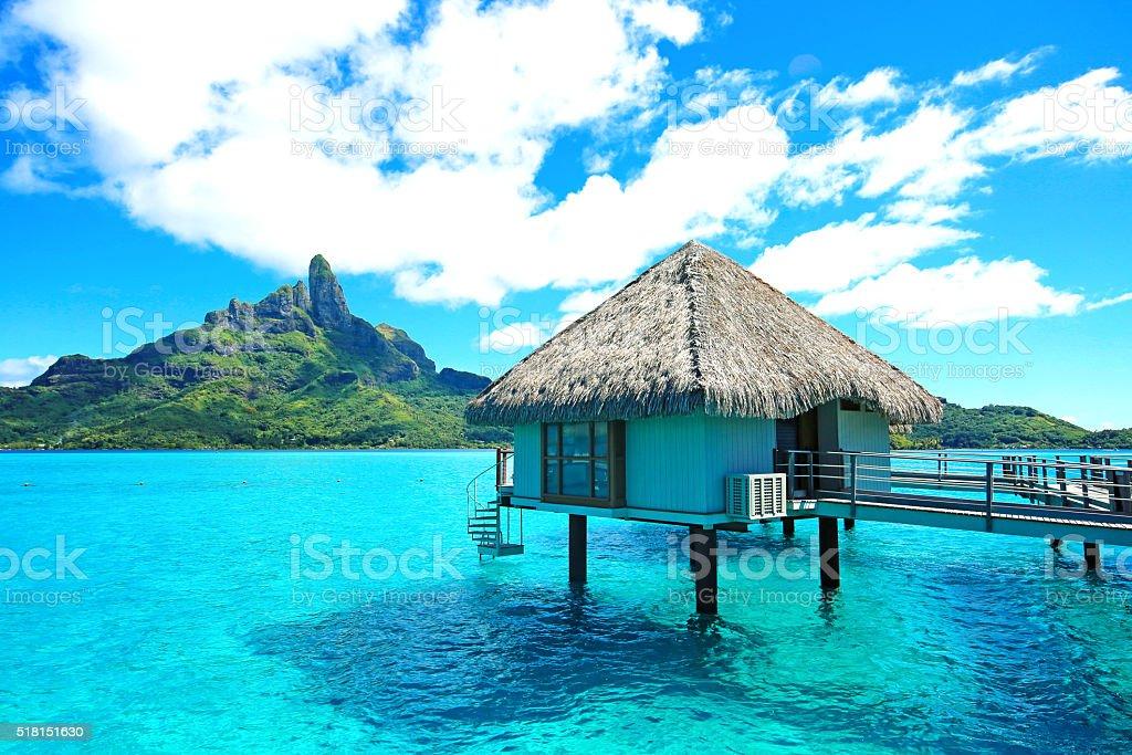 Bora Bora Bungalow stock photo