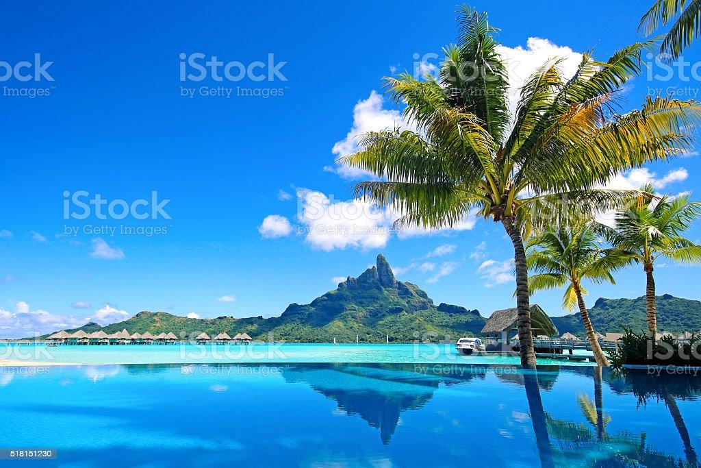 Bora Bora Infinity Pool stock photo