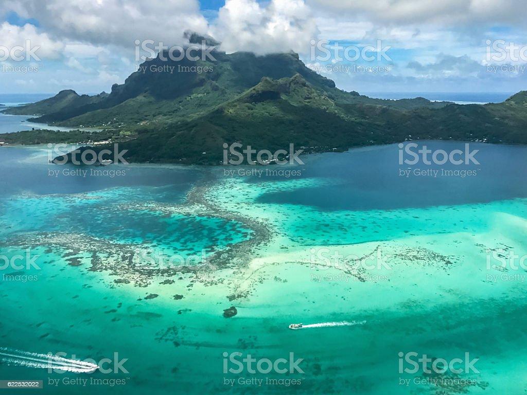 Bora Bora Island Aerial View French Polynesia stock photo