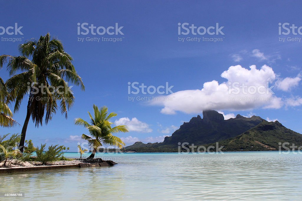 Bora Bora Lagoon with White Sand Beach and Motu stock photo