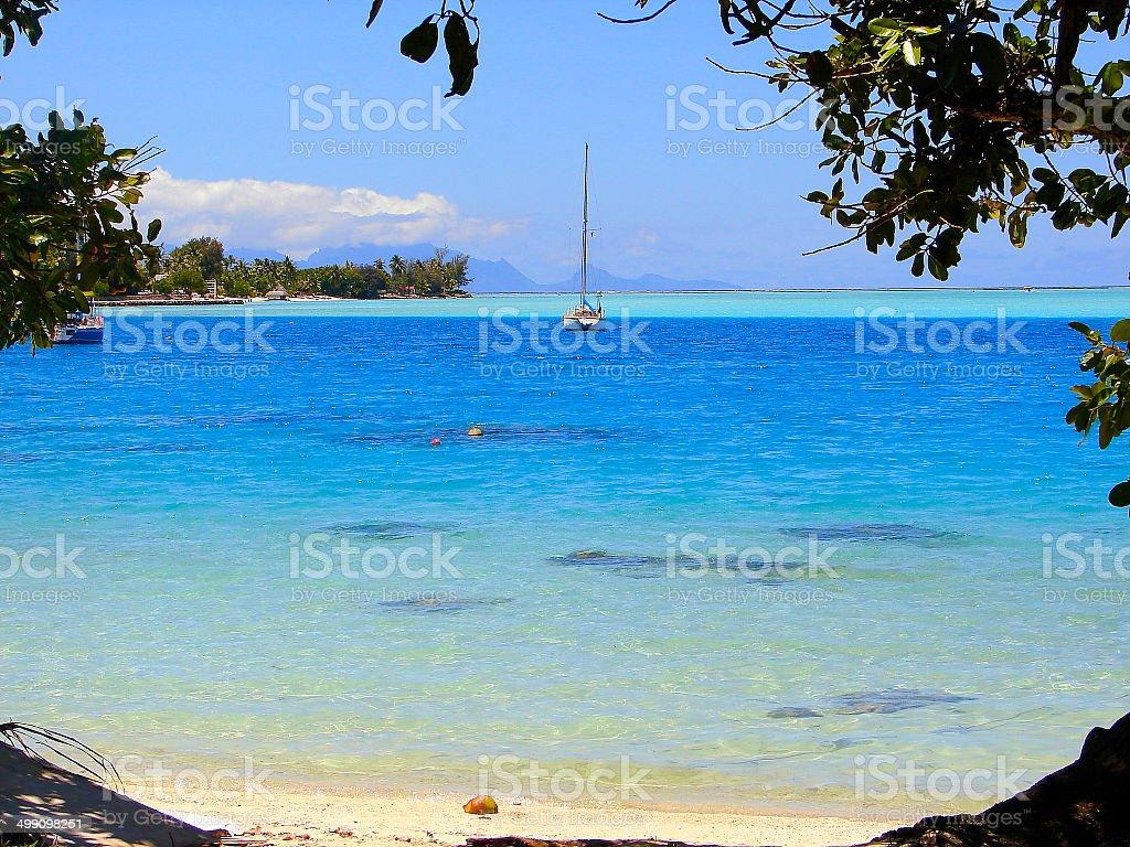 Bora Bora Matira Turquoise beach & sail boat, Polynesia, Tahiti royalty-free stock photo