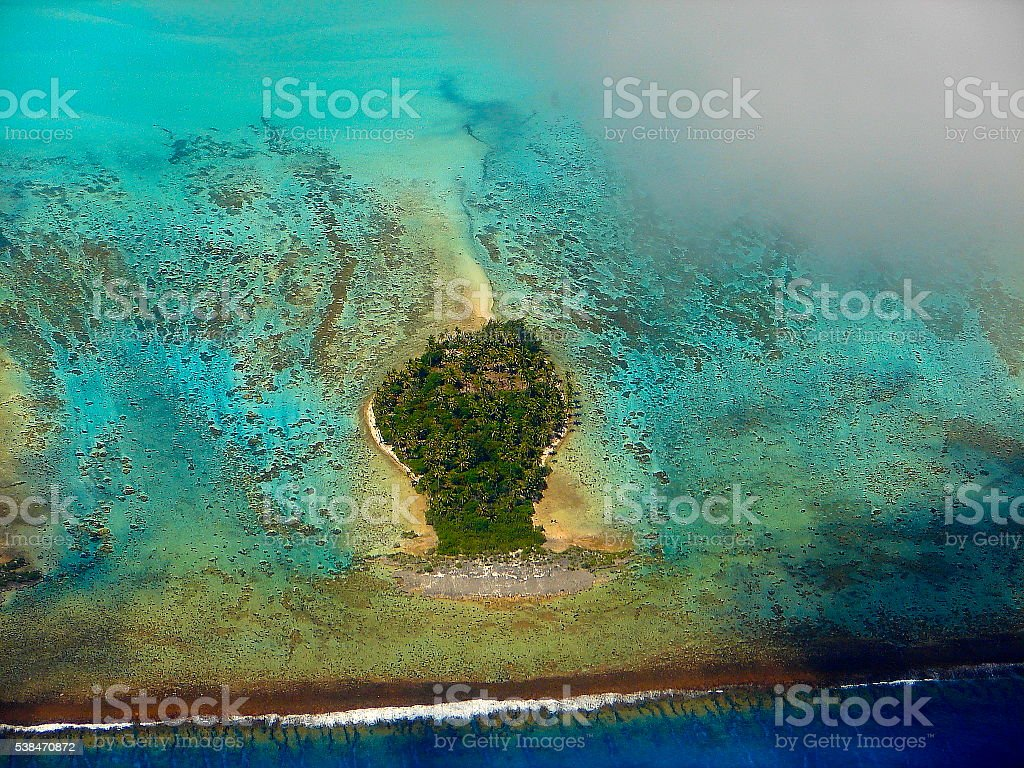 Bora Bora motu coral, Polynesia paradise beach from above, Tahiti stock photo