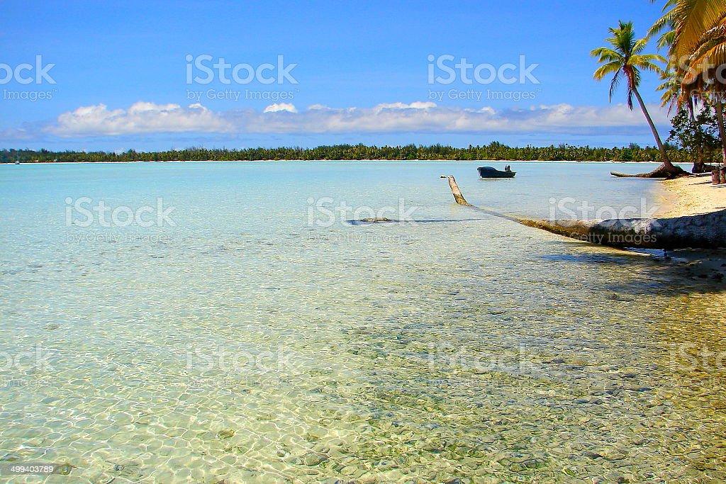 Bora Bora motu from Turquoise beach, French Polynesia, Tahiti royalty-free stock photo