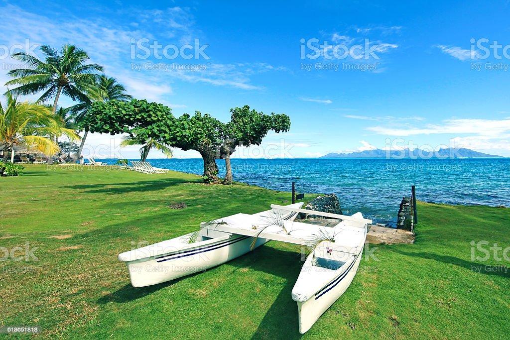 Bora Bora Tahiti Canoe stock photo