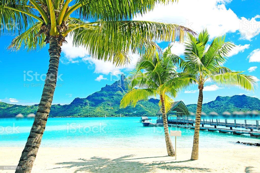 Bora Bora Tahiti Mount Otemanu stock photo