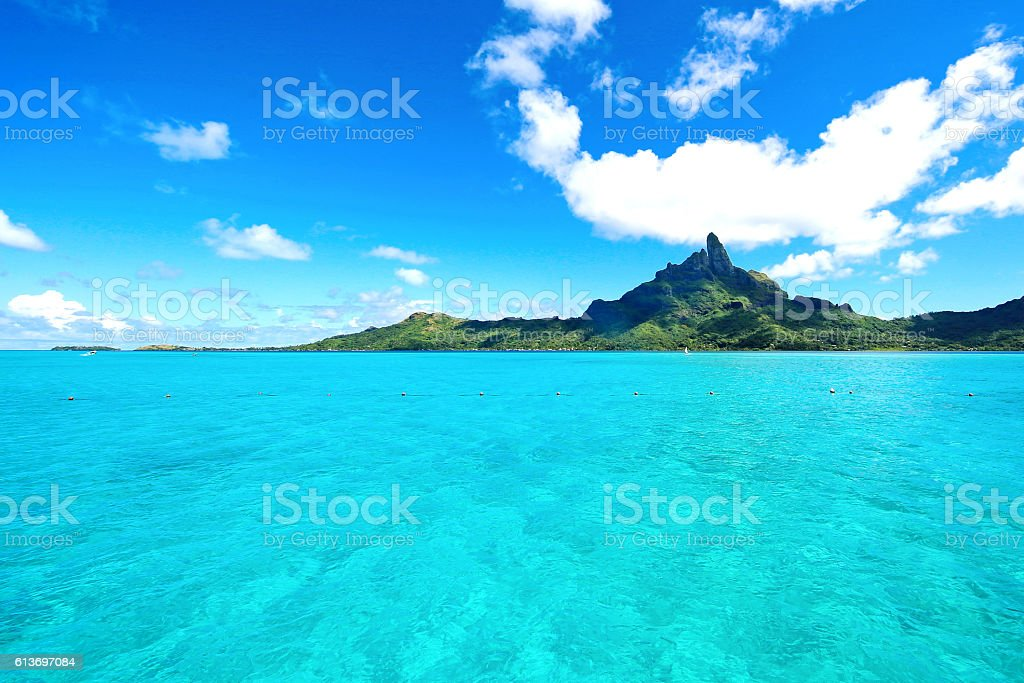 Bora Bora Tahiti Mount Otemanu stock photo