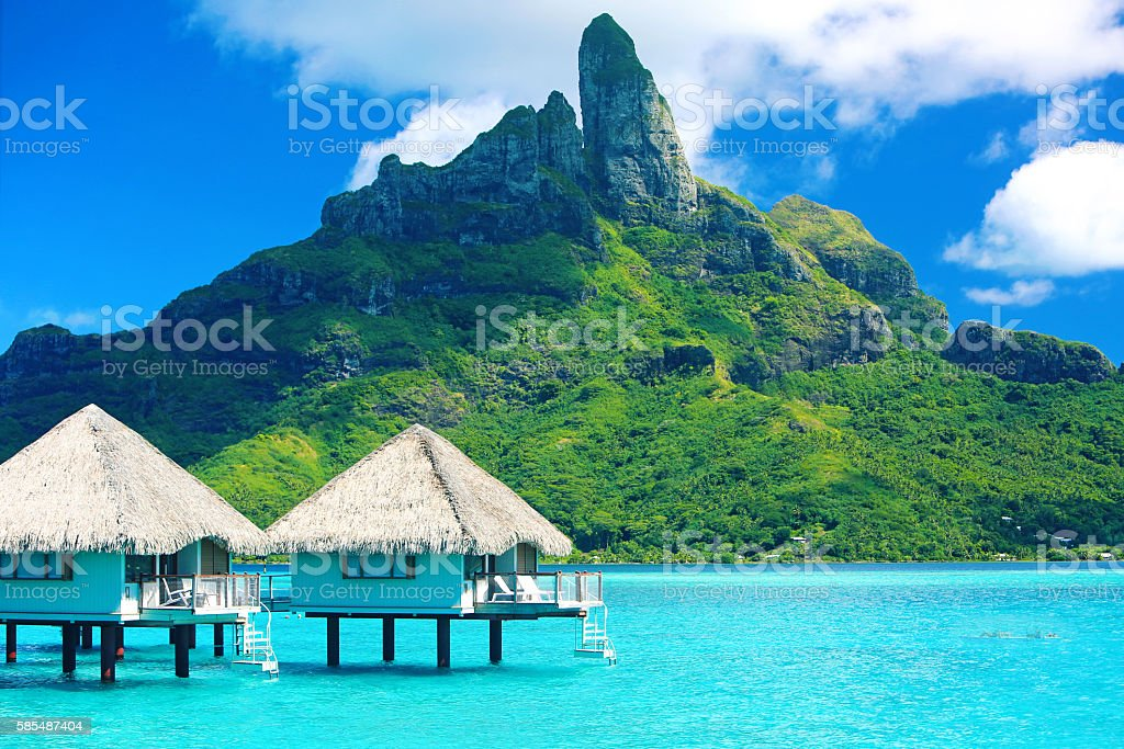 Bora Bora Tahiti Mt Otemanu stock photo