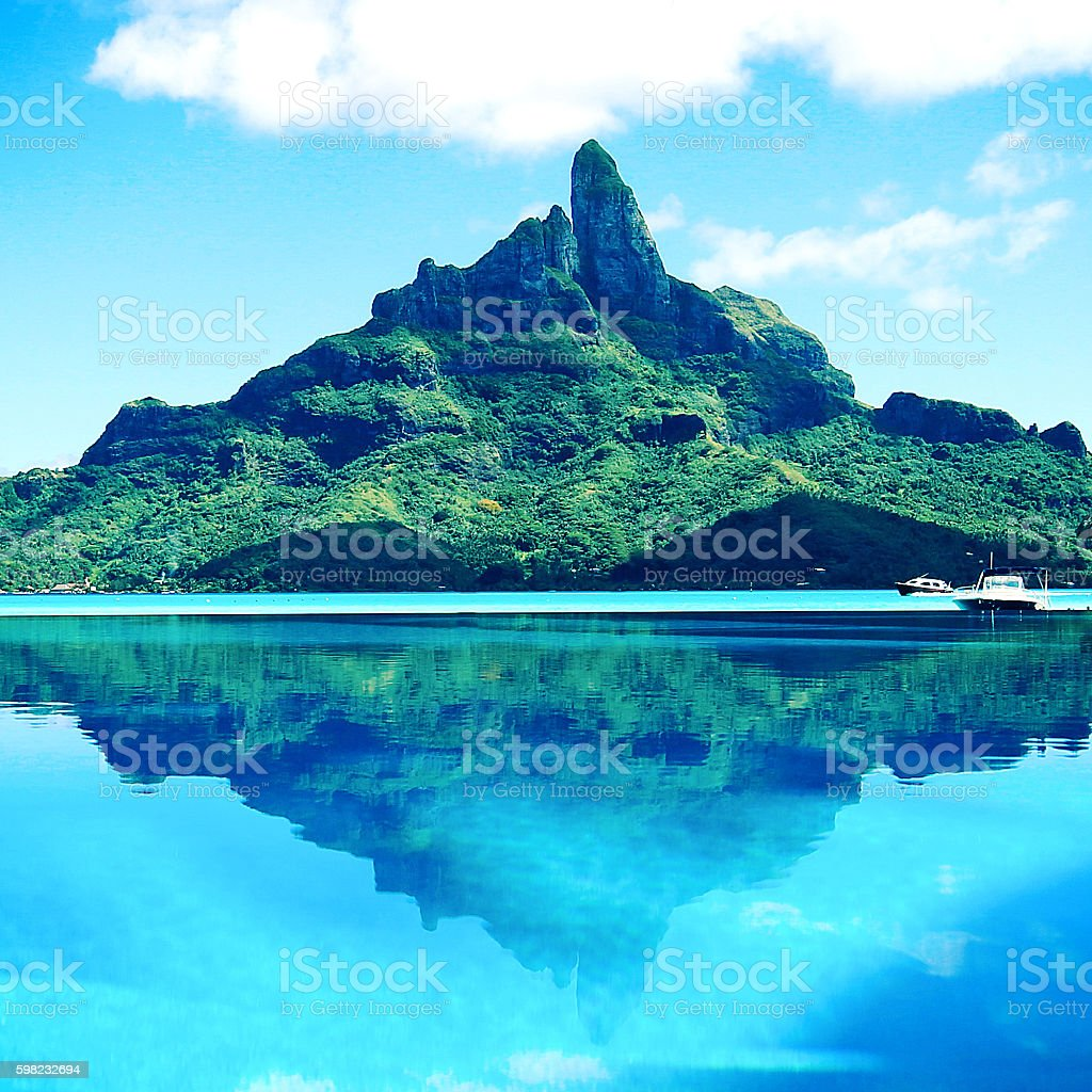 Bora Bora Tahiti Mt Otemanu Reflection stock photo