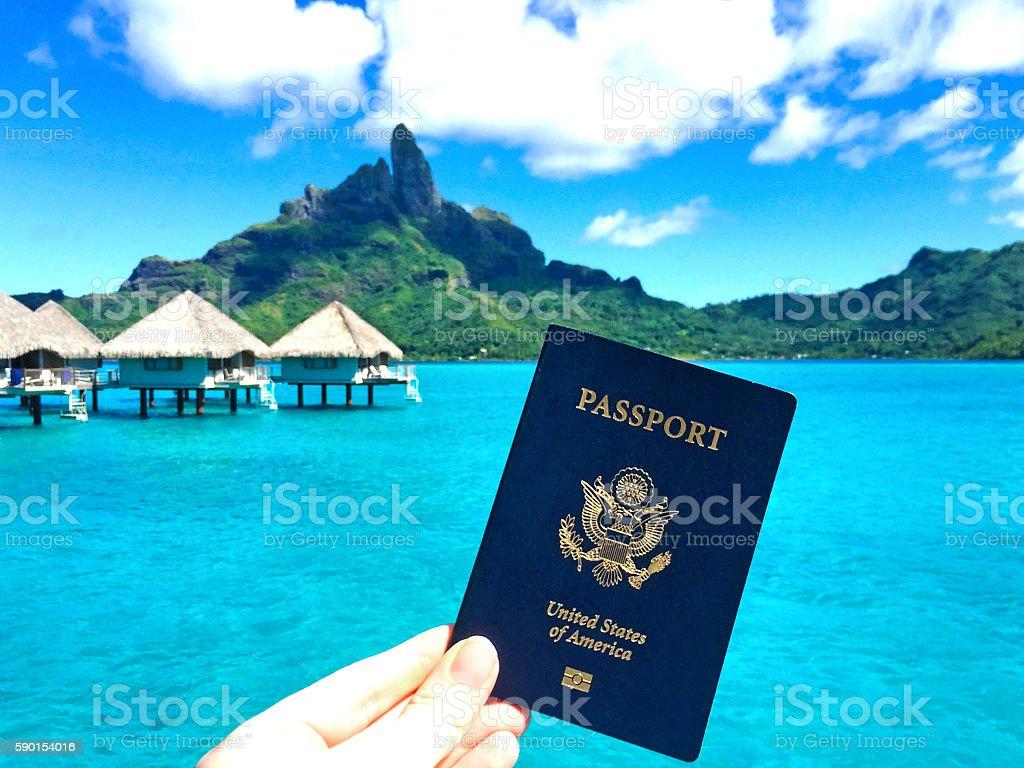 Bora Bora Tahiti Passport Paradise stock photo