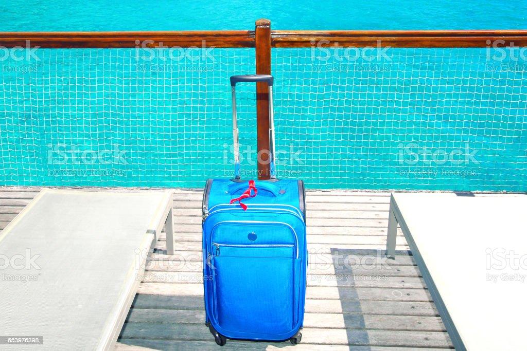 Bora Bora Tahiti Suitcase stock photo