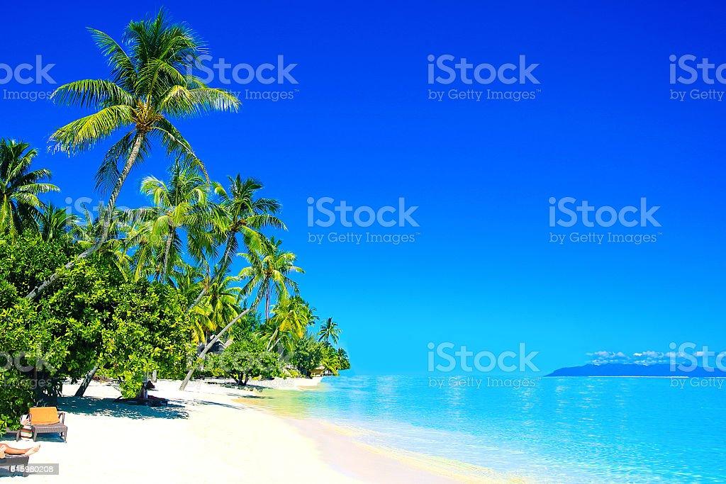 Bora Bora Tahiti White Sand Beach stock photo