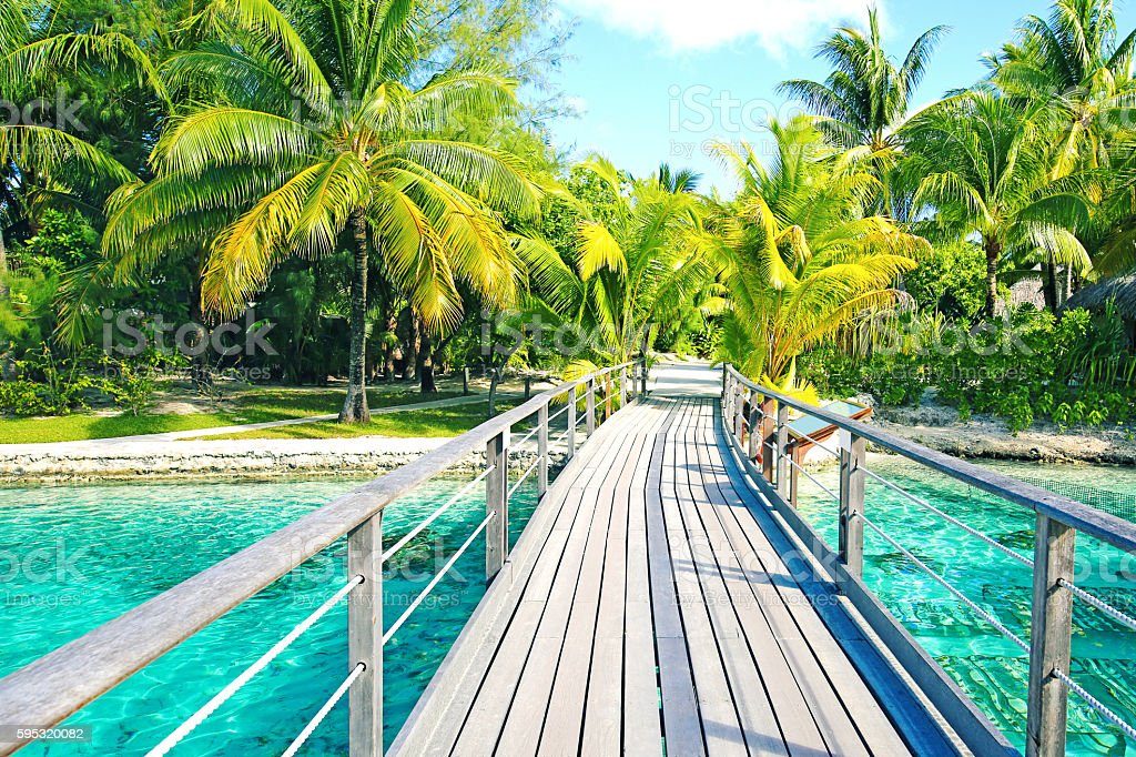 Bora Bora Walkway stock photo