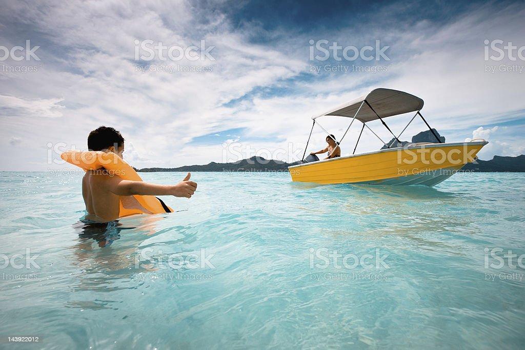 Bora-Bora Boy Hitchhiker, Child Hitchhiking Series royalty-free stock photo