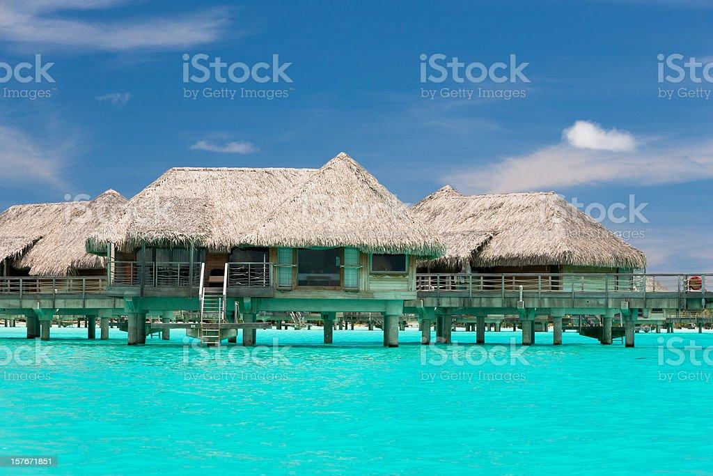 Bora-Bora Island Tourist Resort Stilt Huts royalty-free stock photo