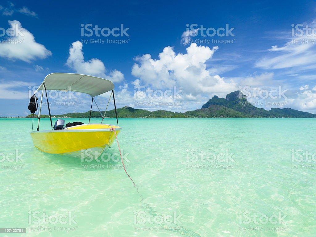 Bora-Bora Lagoon Motor Boat royalty-free stock photo