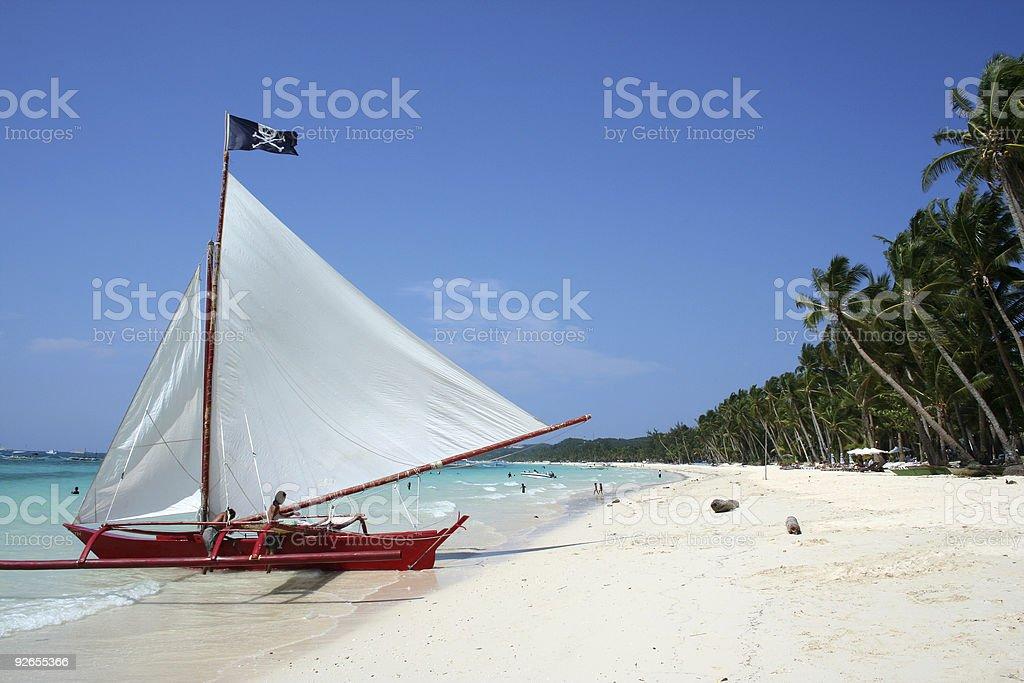 boracay beach pirates paraw sailboat philippines royalty-free stock photo